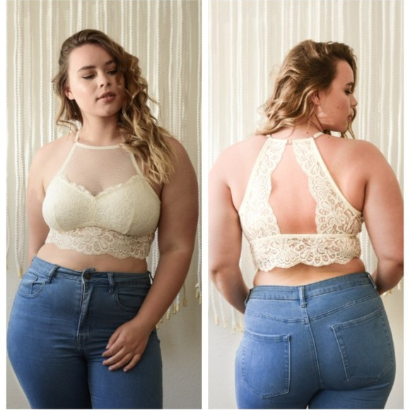 8fc051b68e70e1 Plus Size High Neck Lace Racerback Bralette